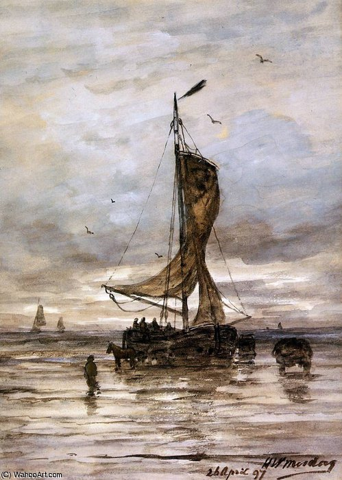 ship sun by Hendrik Willem Mesdag (1831-1915, Netherlands)