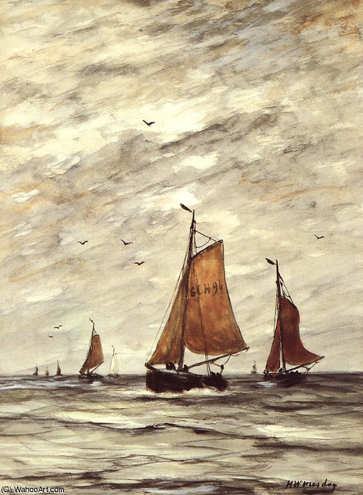 Ships at sea Sun by Hendrik Willem Mesdag (1831-1915, Netherlands)