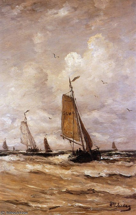 Ships on a choppy sea Sun by Hendrik Willem Mesdag (1831-1915, Netherlands)