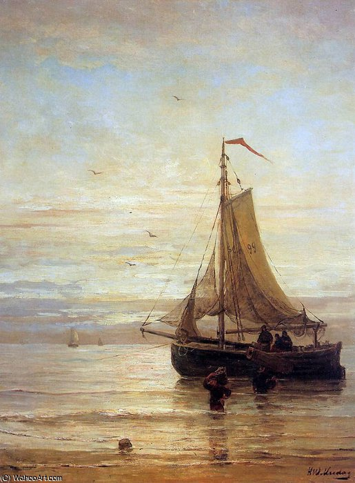 unloading the fish sun by Hendrik Willem Mesdag (1831-1915, Netherlands)