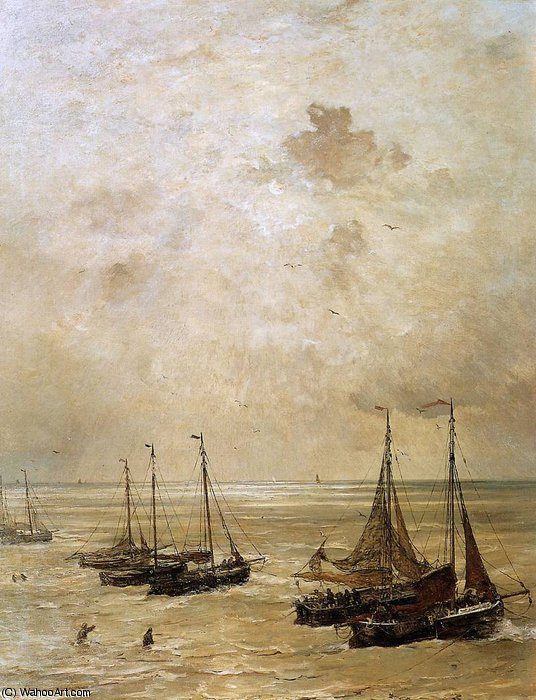 winding the anchor sun by Hendrik Willem Mesdag (1831-1915, Netherlands)