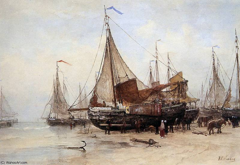 work at the beach sun by Hendrik Willem Mesdag (1831-1915, Netherlands)
