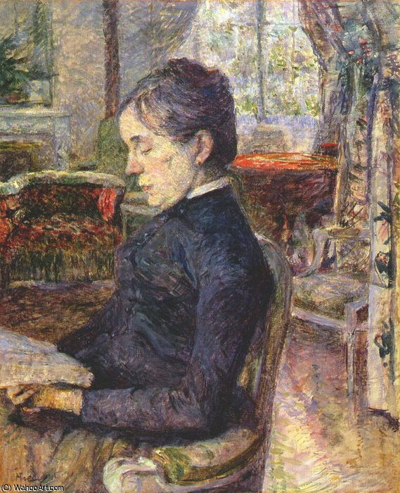 comtesse adele de toulouse lautrec in the salon at malrome, 1887 by Henri De Toulouse Lautrec (1864-1901, France)