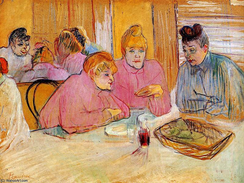 Diningroom in brothel Sun by Henri De Toulouse Lautrec (1864-1901, France)
