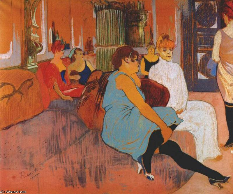 in the salon of the rue des moulins, 1894 by Henri De Toulouse Lautrec (1864-1901, France)
