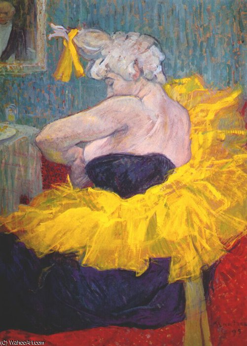 the clownesse cha-u-kao at the moulin rouge ii, 1895 by Henri De Toulouse Lautrec (1864-1901, France)