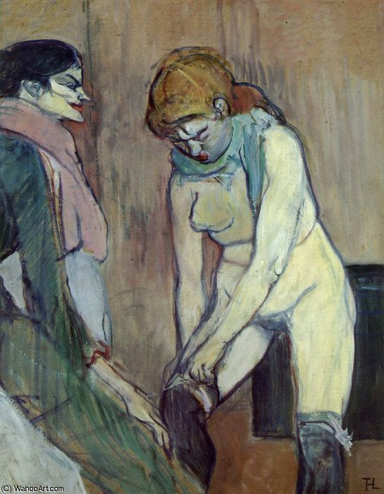Woman Pulling up her Stocking, 1894 by Henri De Toulouse Lautrec (1864-1901, France)
