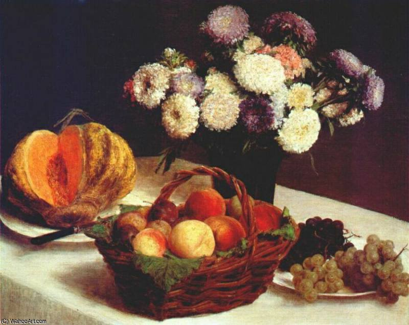 china asters and fruit, 1865 by Henri Fantin Latour (1836-1904, France)