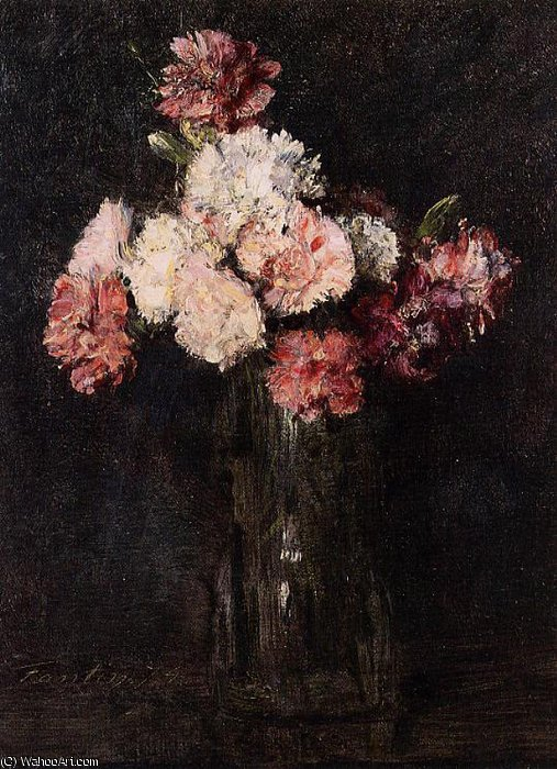 Carnations in a Champagne Glass by Henri Fantin Latour (1836-1904, France)