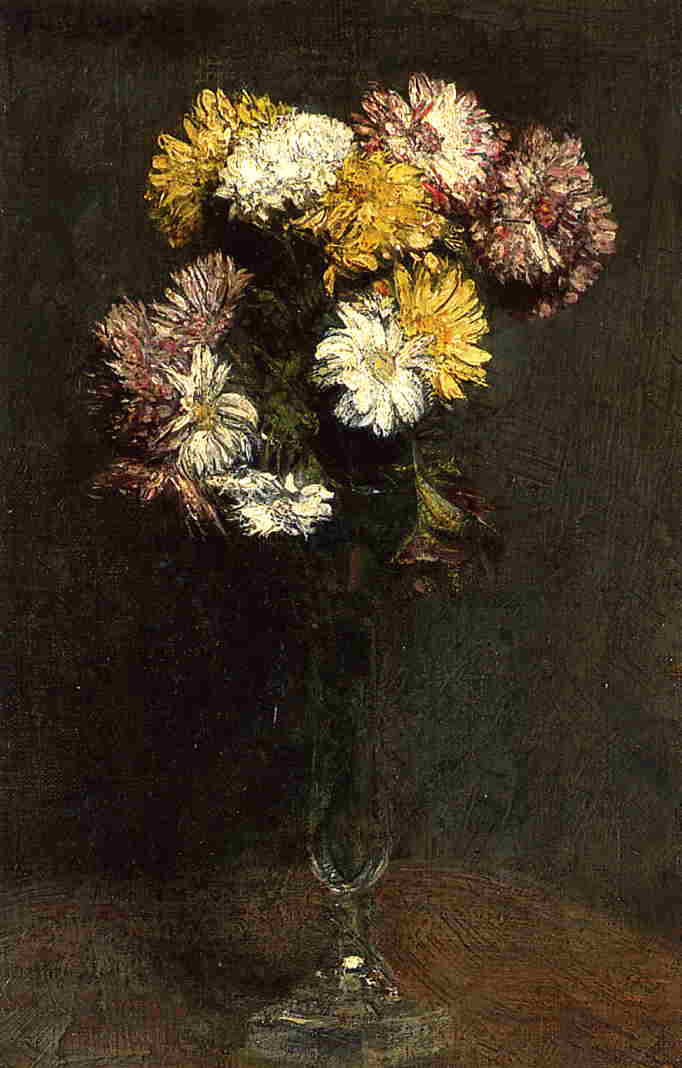 chrysanthemums by Henri Fantin Latour (1836-1904, France)