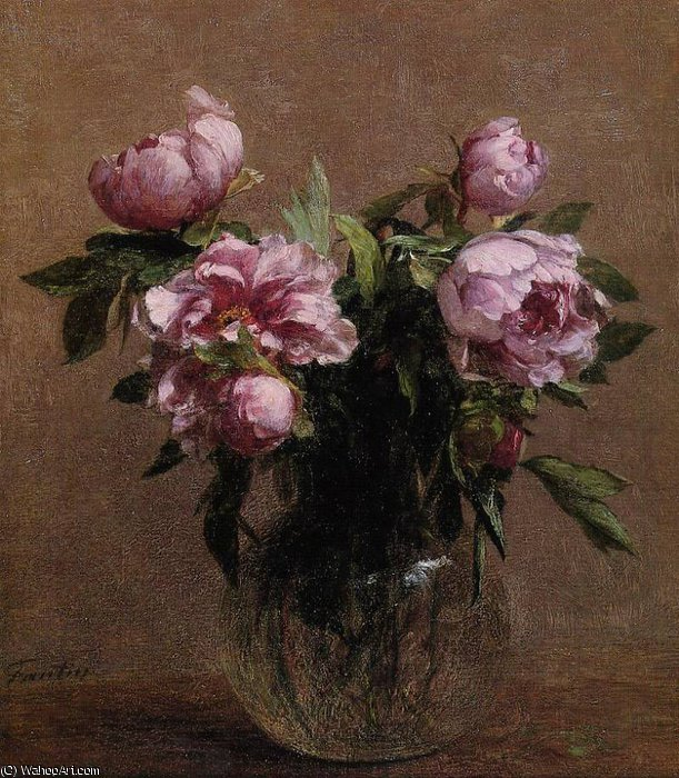 Vase of Peonies by Henri Fantin Latour (1836-1904, France)