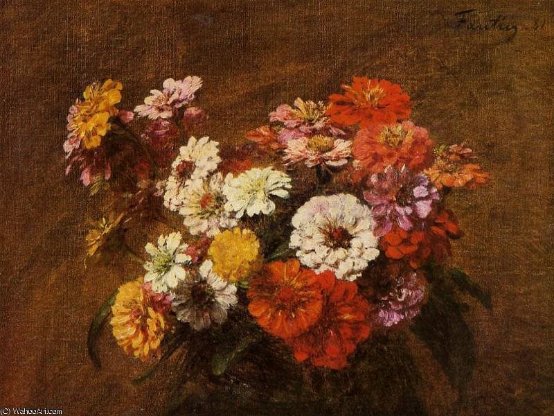 Zinnias in a Vase by Henri Fantin Latour (1836-1904, France)
