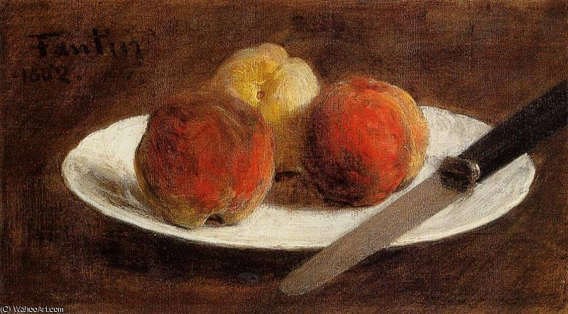 Plate of Peaches by Henri Fantin Latour (1836-1904, France)