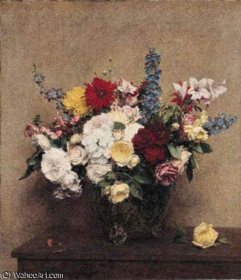 The Rosy Wealth of June by Henri Fantin Latour (1836-1904, France)