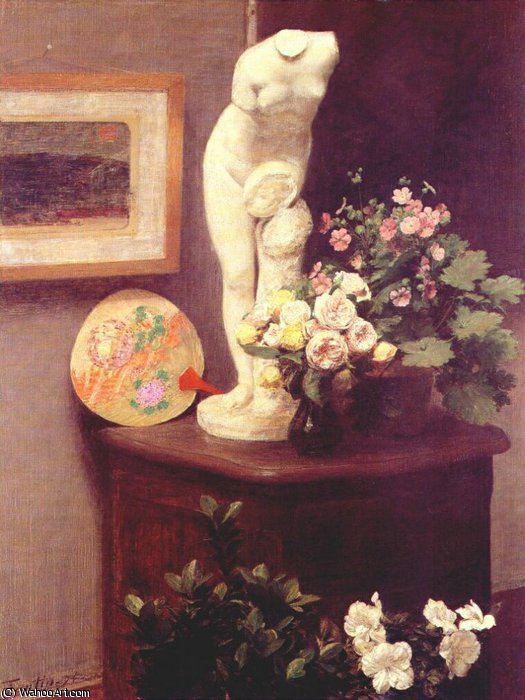 flowers and various objects, 1874 by Henri Fantin Latour (1836-1904, France)