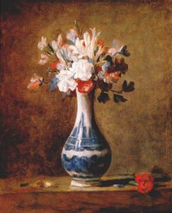 Jean-Baptiste Simeon Char.. - flowers in blue and white..