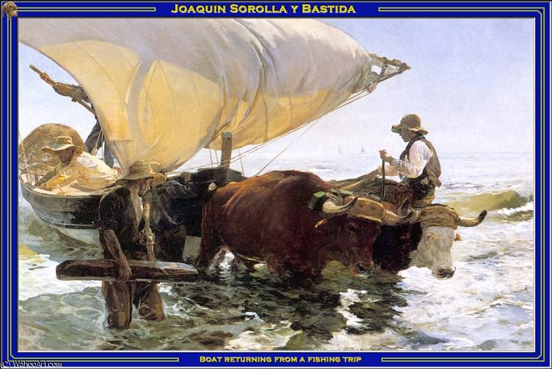 Boat returning from a fishing trip by Joaquin Sorolla Y Bastida (1863-1923, Spain)