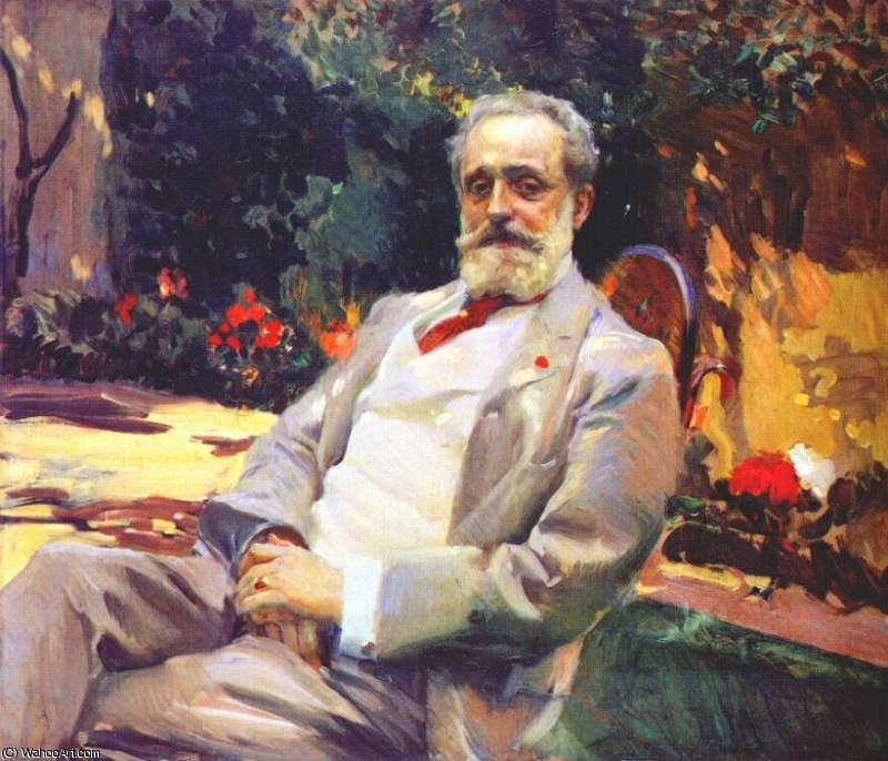 raimundo de madrazo in his paris garden, 1906 by Joaquin Sorolla Y Bastida (1863-1923, Spain)