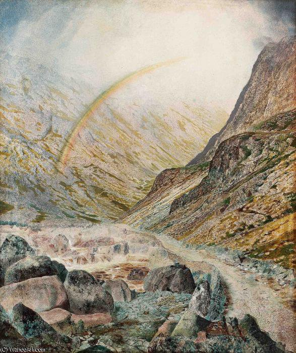 a mountain road flood time honister by John Atkinson Grimshaw (1836-1893, United Kingdom) | Museum Art Reproductions | ArtsDot.com