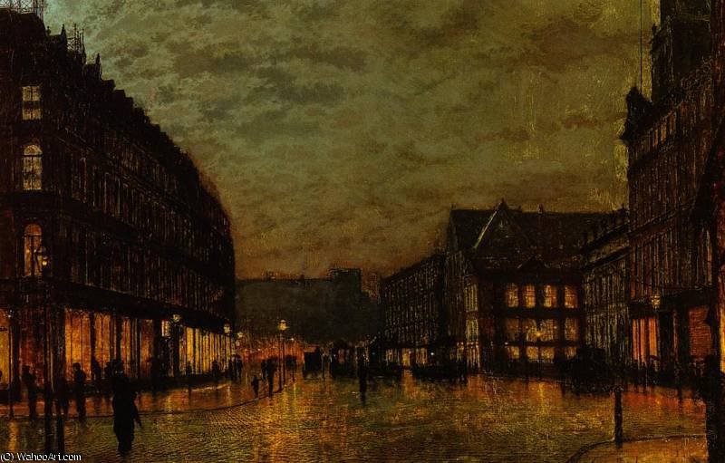 Boars Lane, Leeds by Lamplight by John Atkinson Grimshaw (1836-1893, United Kingdom)