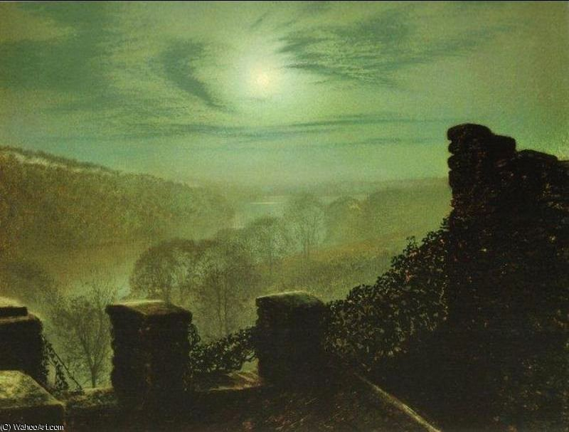Full Moon behind Cirrus Cloud from the Roundhay Park Castle Battlements by John Atkinson Grimshaw (1836-1893, United Kingdom)