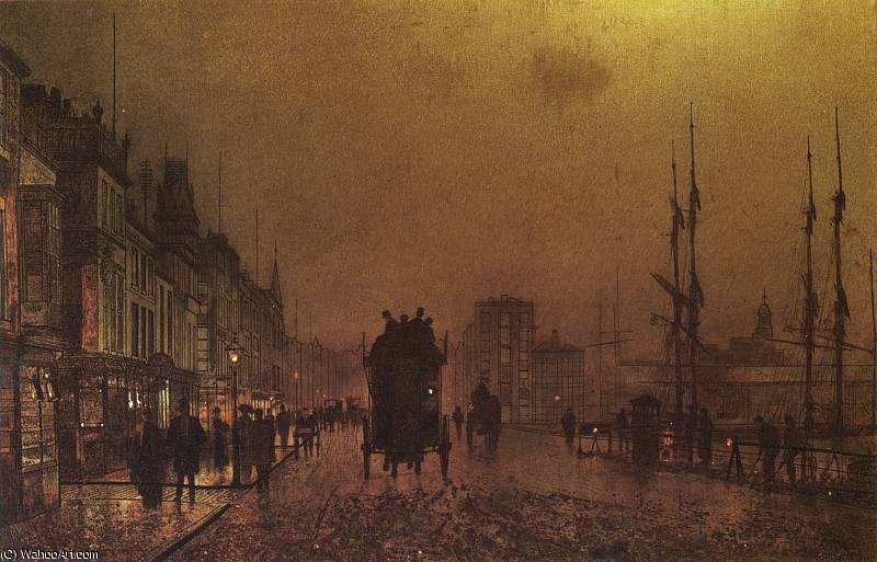 glasgow docks by John Atkinson Grimshaw (1836-1893, United Kingdom)