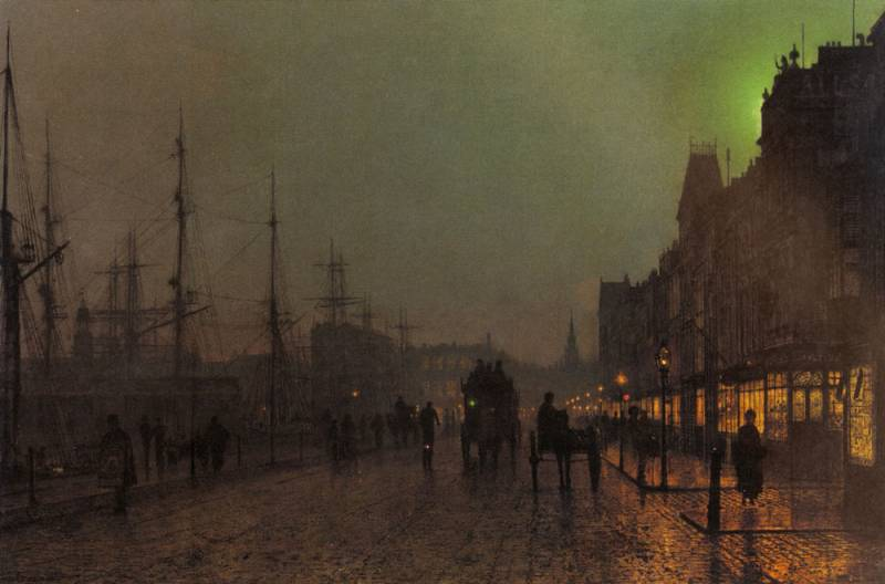 gourock near the clyde shipping docks by John Atkinson Grimshaw (1836-1893, United Kingdom)