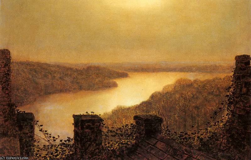 Roundhay lake From Castle by John Atkinson Grimshaw (1836-1893, United Kingdom) | Oil Painting | ArtsDot.com