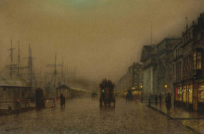 salthouse dock, liverpool by John Atkinson Grimshaw (1836-1893, United Kingdom)