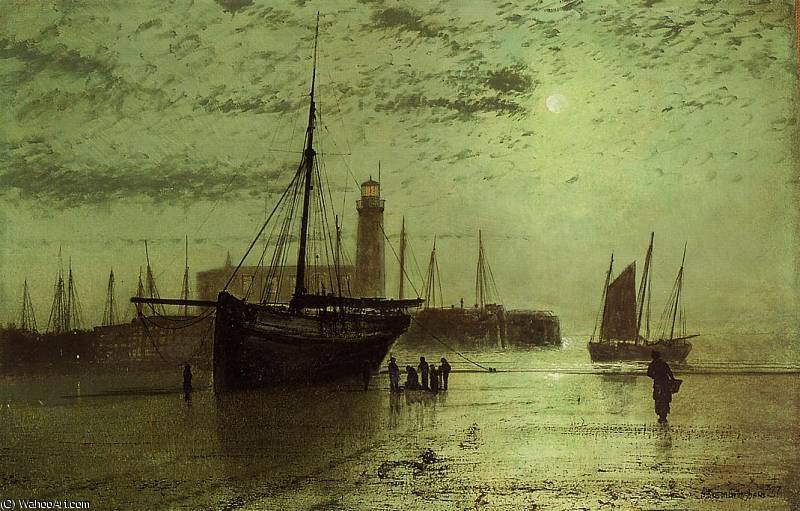 The Lighthouse at Scarborough by John Atkinson Grimshaw (1836-1893, United Kingdom)