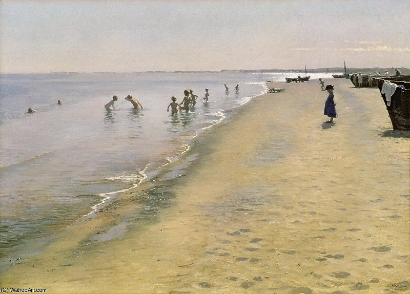 Summer Day at the South Beach of Skagen by Peder Severin Kroyer (1851-1909, Norway) | Museum Quality Reproductions | ArtsDot.com