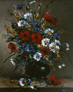 Eugene Henri Cauchois - Poppies And Daisies -