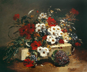 Eugene Henri Cauchois - Poppies And Daisies