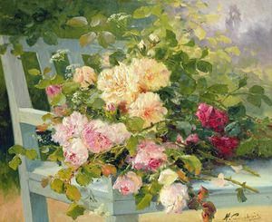 Eugene Henri Cauchois - Roses On The Bench