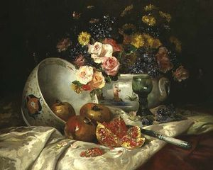 Eugene Henri Cauchois - Still Life Of Flowers In ..