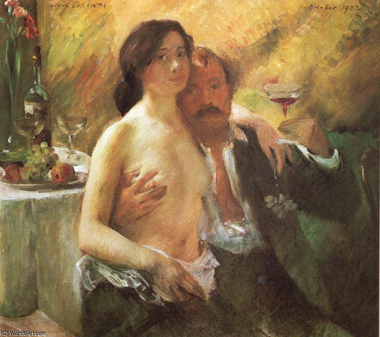 Self portrait with his Wife and a Glass of Champagne by Lovis Corinth (Franz Heinrich Louis) (1858-1925, Netherlands)