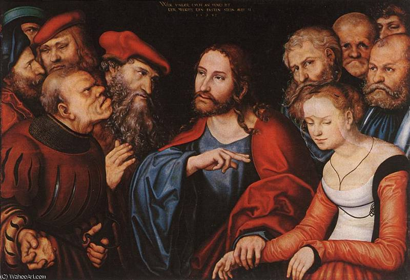 christ and the adulteress by Lucas Cranach The Elder (1472-1553, Germany)