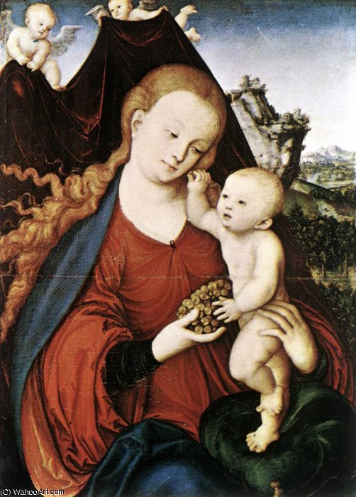 madonna and child by Lucas Cranach The Elder (1472-1553, Germany)