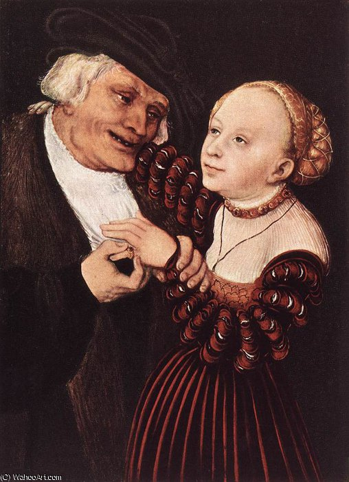 old man and young woman by Lucas Cranach The Elder (1472-1553, Germany)