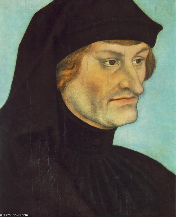 portrait of johannes geiler von kaysersberg by Lucas Cranach The Elder (1472-1553, Germany)