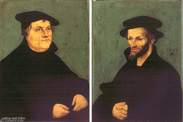 portraits of martin luther and philipp melanchthon by Lucas Cranach The Elder (1472-1553, Germany)