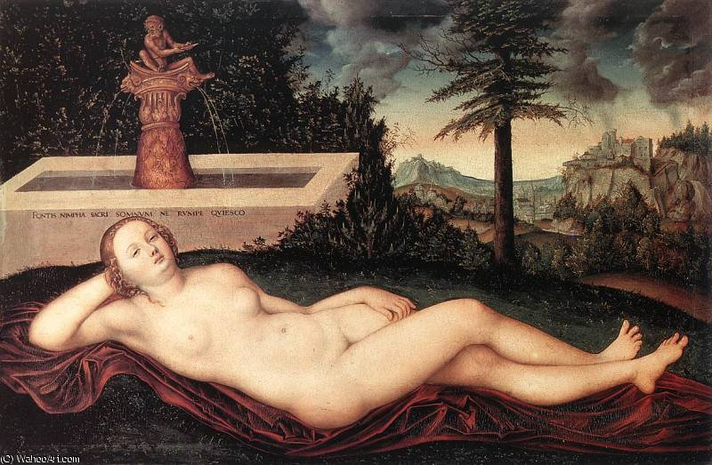 reclining river nymph at the fountain by Lucas Cranach The Elder (1472-1553, Germany)