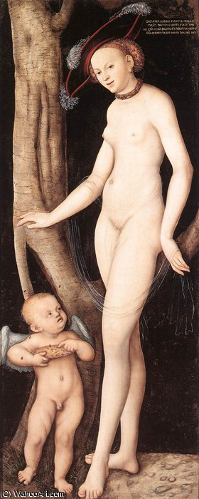 venus and cupid with a honeycomb by Lucas Cranach The Elder (1472-1553, Germany)
