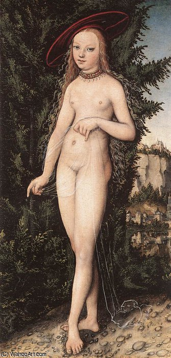 venus standing in a landscape by Lucas Cranach The Elder (1472-1553, Germany)