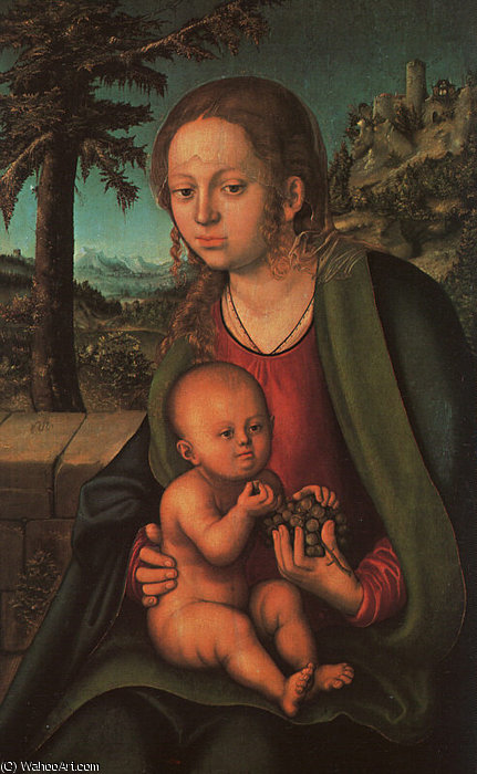 Madonna with the Bunch of Grapes by Lucas Cranach The Elder (1472-1553, Germany)
