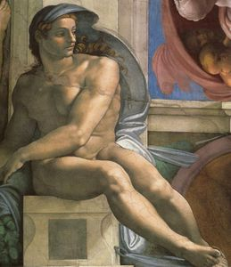 Michelangelo Buonarroti - Sistine Chapel Ceiling Ignudi next to Separation of Land and the Persian Sybil