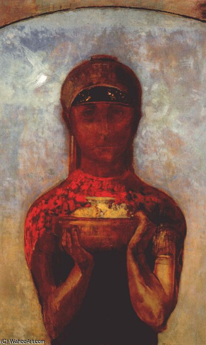 the chalice of mystery, 1890 by Odilon Redon (1840-1916, France) | Museum Art Reproductions | ArtsDot.com