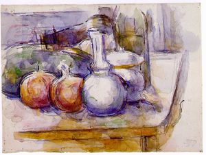Paul Cezanne - Still Life with Carafe, Sugar Bowl, Bottle, Pomegranates, and Watermelon