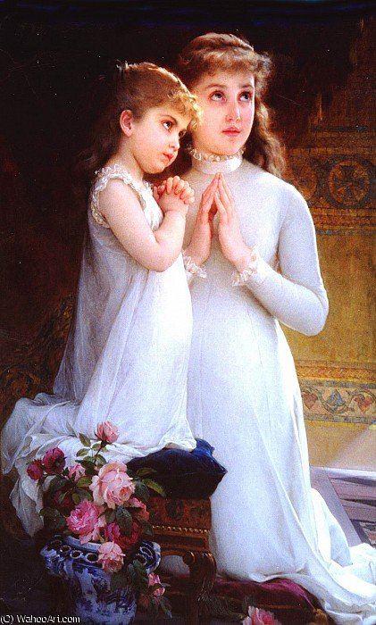 two girls praying by Emile Munier (1840-1895, France)