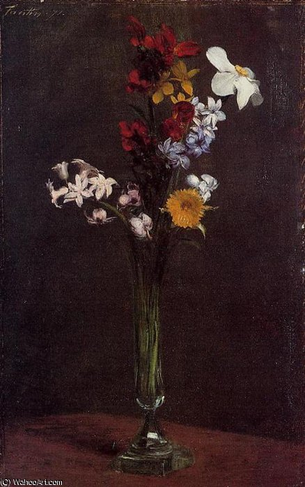 Narcisses Hyacinths and Nasturtiums by Henri Fantin Latour (1836-1904, France)
